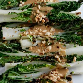 Grilled Bok Choy with Spicy Peanut Sauce