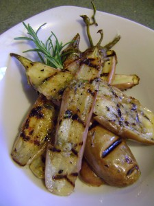 Grilled Fairy Tale Eggplant marinated in Rosemary, Garlic, Lemon and Olive Oil