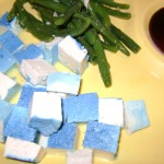 Basic Blue Tofu with Sauteed Green Beans