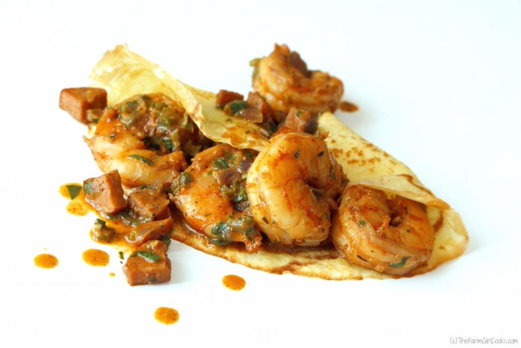 cajun shrimp andouille crepe 2