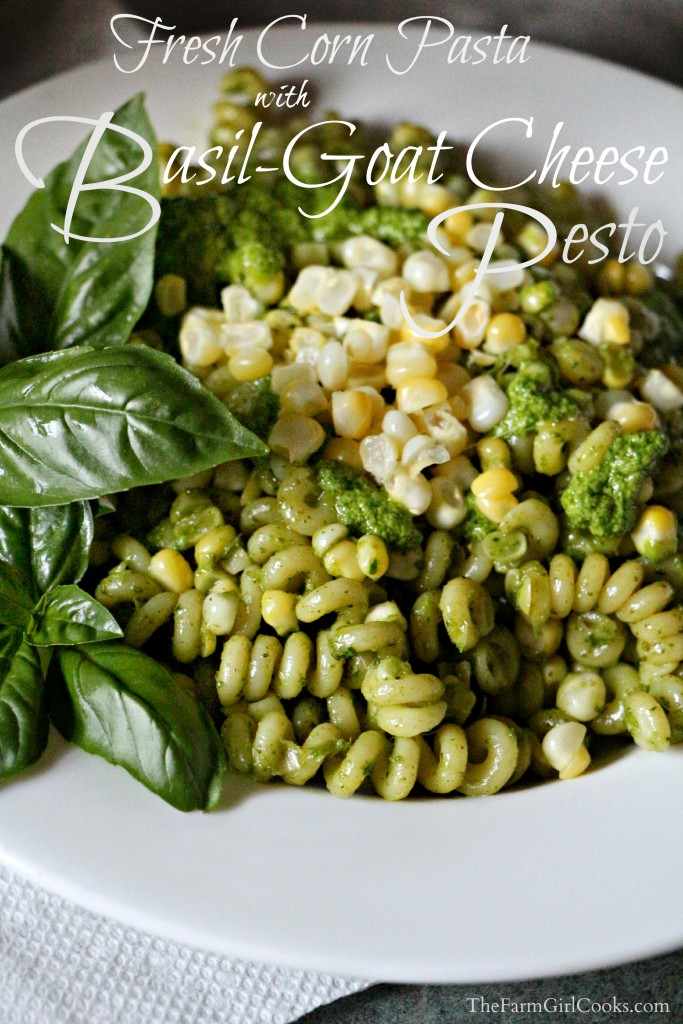 fresh corn pasta with pesto