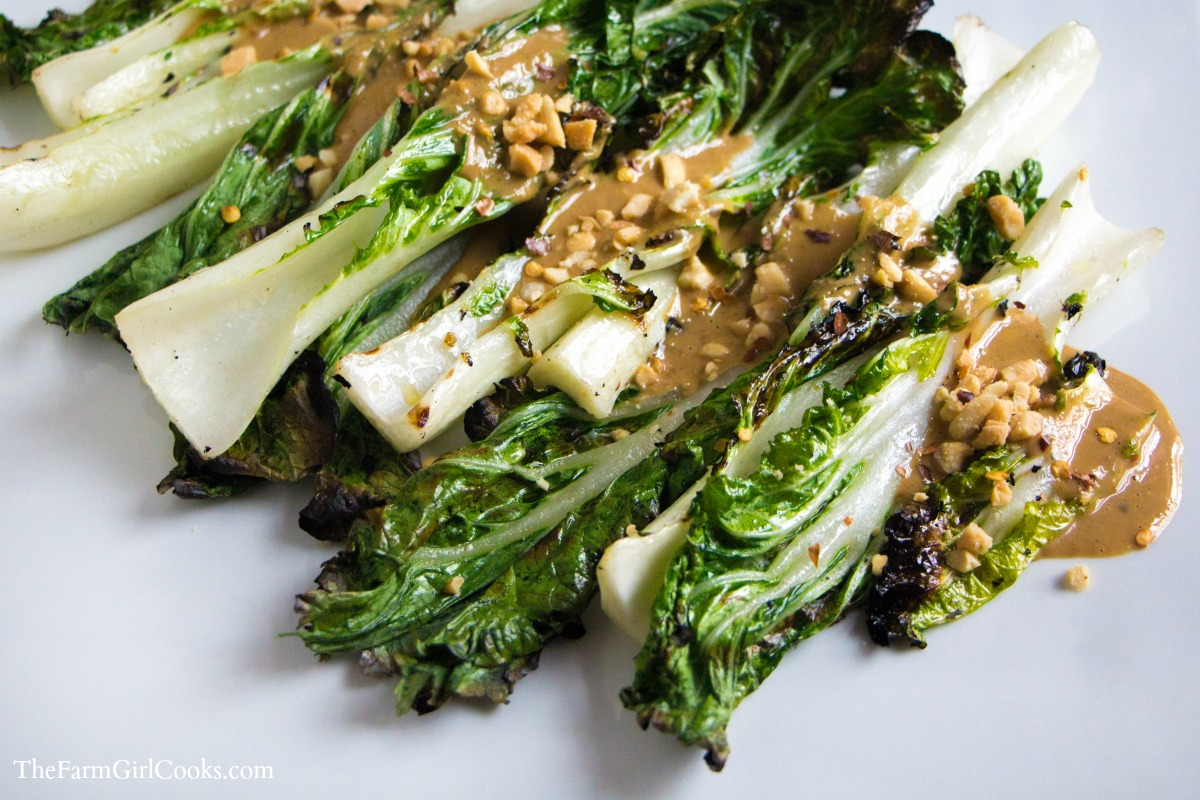 Exquisite Grilled Bok Choy With Spicy Peanut Sauce